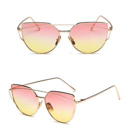 Oversized Female Sunglasses - Mirrored - All Silver Pink Yellow Sunset