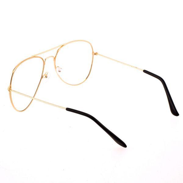 Retro Aviator Glasses - CLEAR LENS - Rose Gold