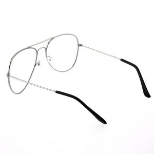 Retro Aviator Glasses - CLEAR LENS - Black SILVER GOLD