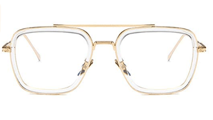 Iron Man - TONY STARK MARVEL Retro Geeks – Retro and Vintage Clubmasters – Style – Clubmasters – Semi-rimless Glasses – CLEAN LENS – NO PRESCRIPTION – Essential Daily Accessories – Suitable with all outfits – UNISEX – Brand New - Glasses - Sunglasses - Specsavers - visionexpress