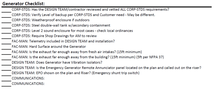 Generator Checklist