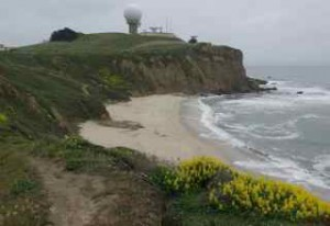The beach trail ends at Mavericks.