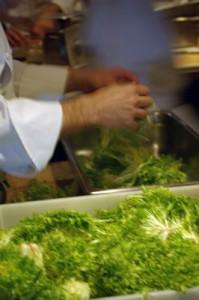 Preparing vegetables for dinner at Chez Panisse.