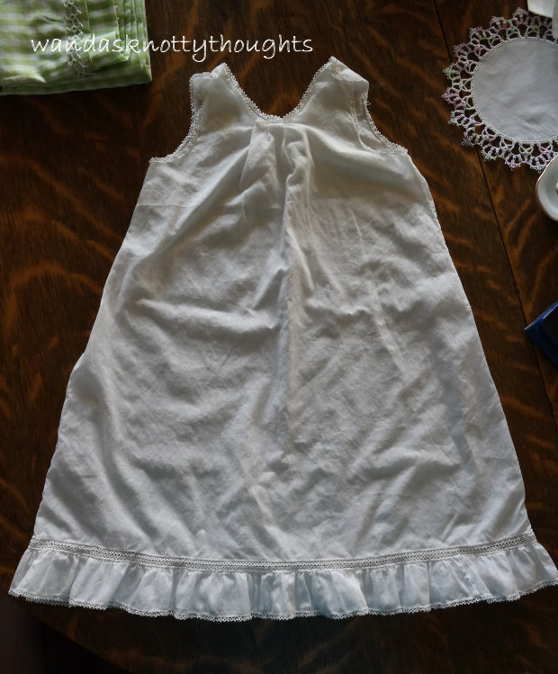 Old child's dress with tatting found at flea market found on wandasknottythoughts.com