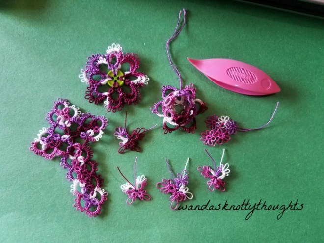 Waiting room tatting in Grape Pizzaz size 20 Lizbeth on wandasknottythoughts