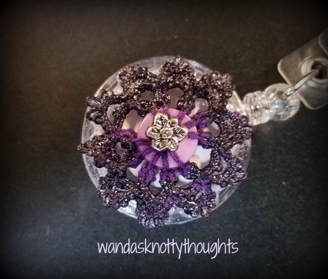Birthday badge reel tatted button on wandasknottythoughts