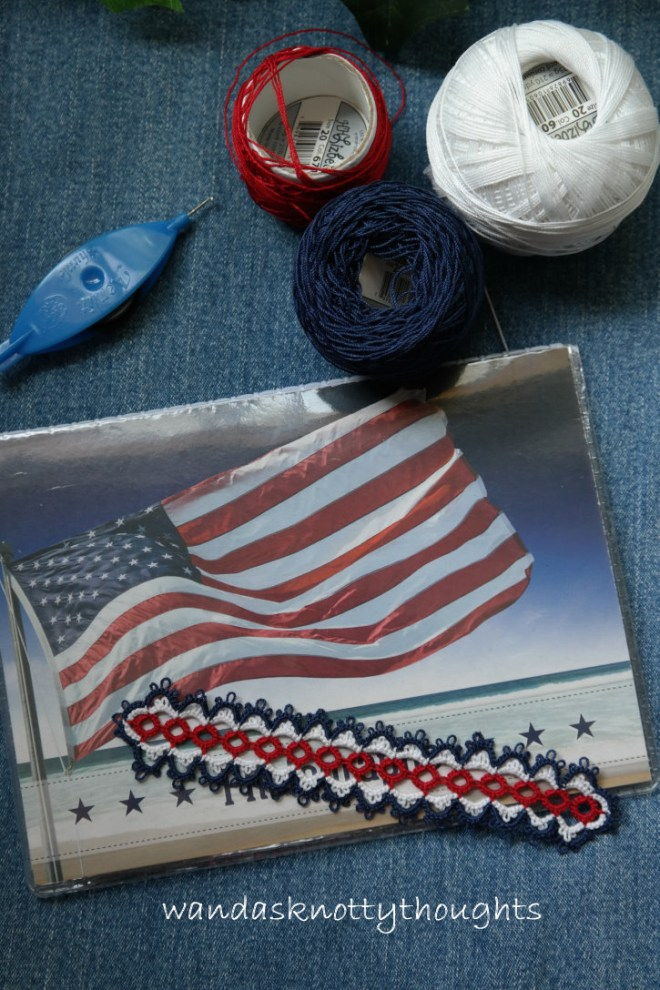 Flag Day bookmark made in red, white, and blue on wandasknottythoughts