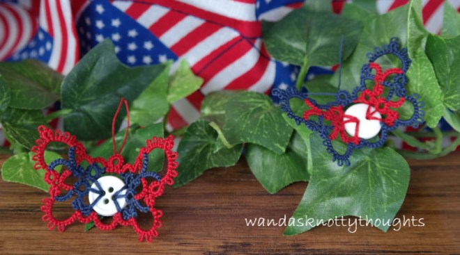 Tatted Red, White, and Blue Button Butterflies on wandasknottythoughts
