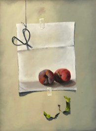 Peaches on Paper (20x24 oil on panel)