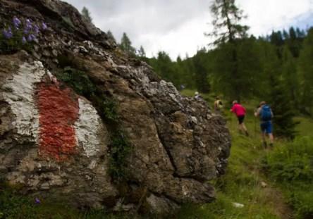Einfach zu erkennen und lückenlos: die Wegmarkierung des Salzburger Almenwegs.