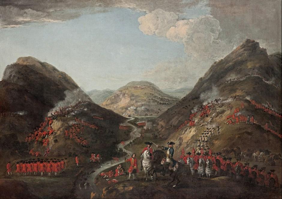 Recreación pictórica de la batalla de Glenshiel | Crédito: Wikimedia Commons