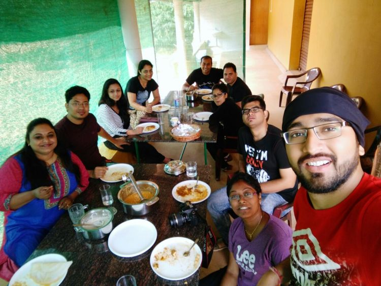 A mandatory groupfie during breakfast