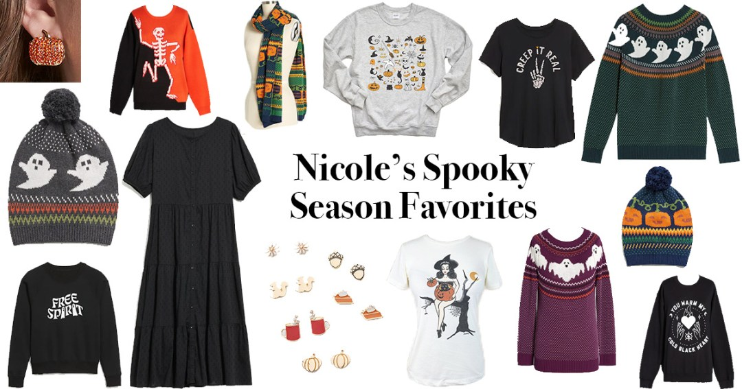 A collage of various plus size halloween themed sweaters, shirts, accessories, and other apparel.