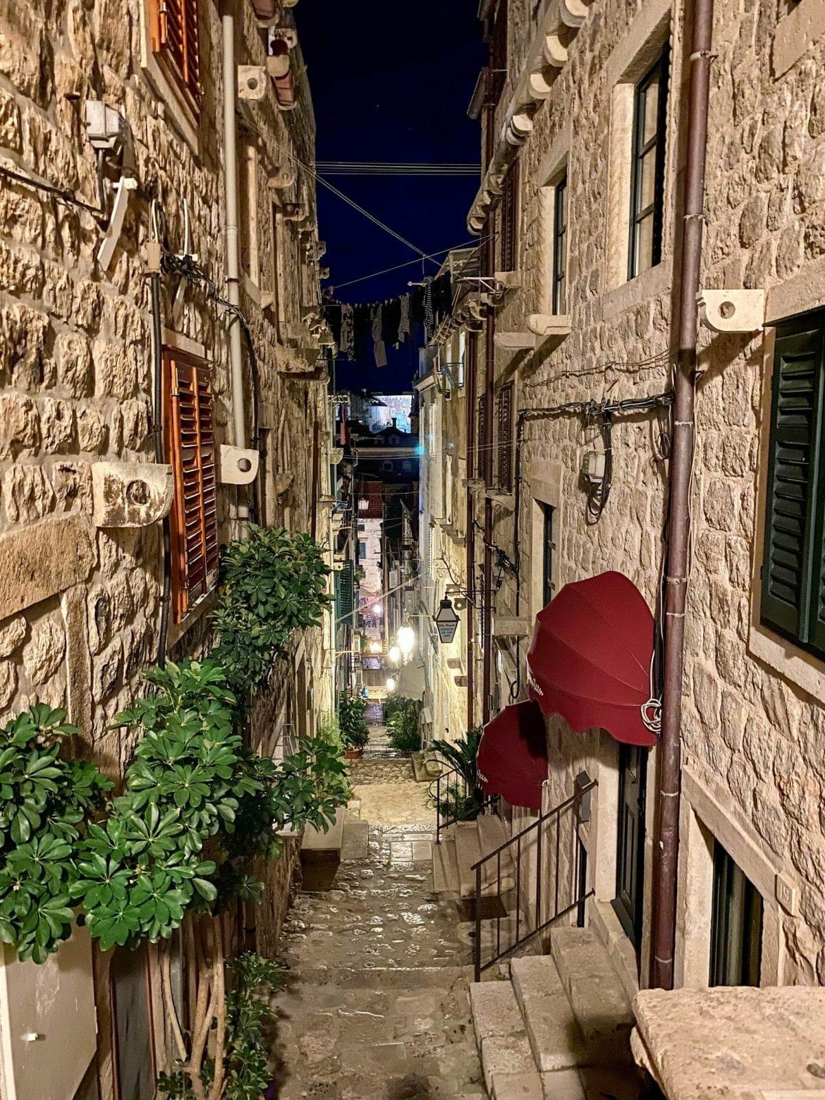 Dubrovnik city streets at night