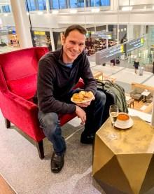 In the British Airways lounge