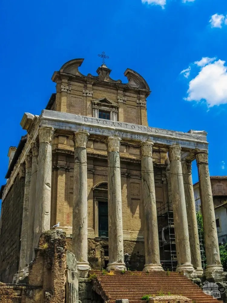 The Temple of Antoninus and Faustina, one of the many ruins found in the Roman Forum.