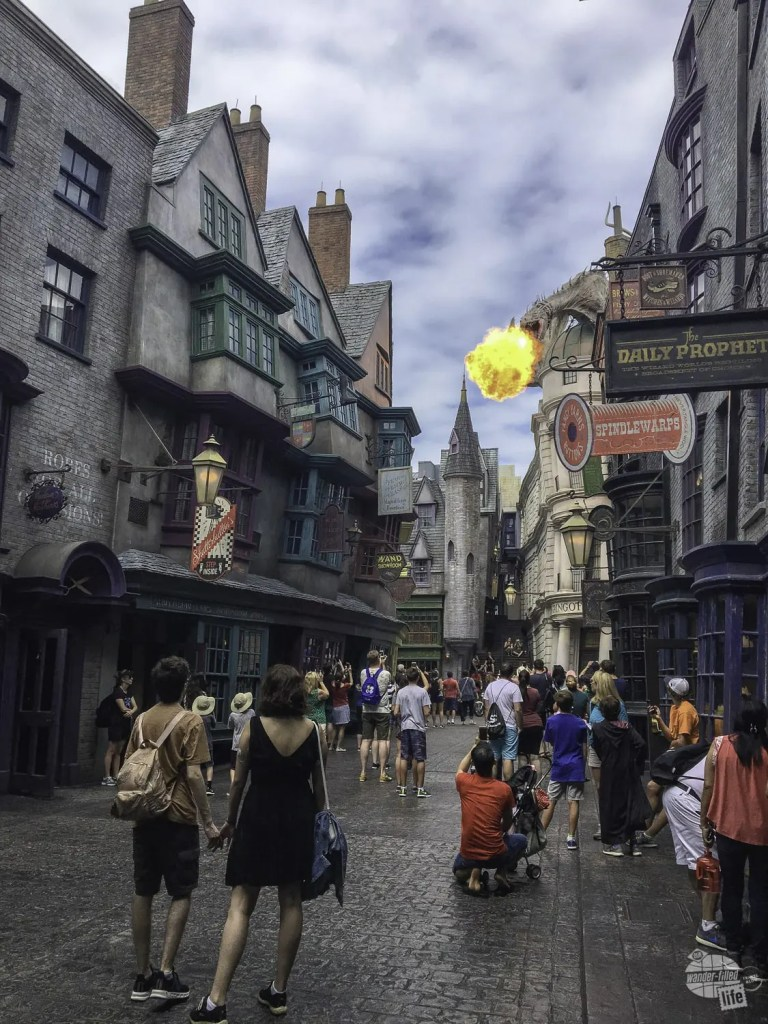 The dragon will breathe fire from time to time in Diagon Alley.