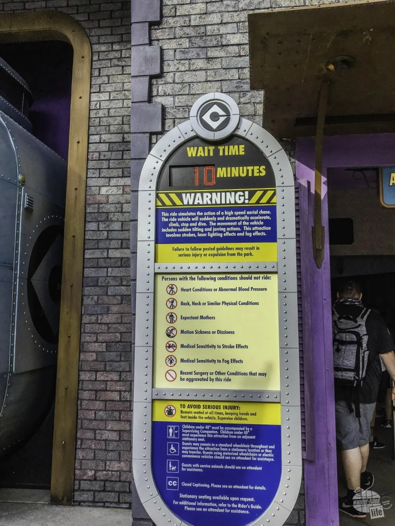 Short wait times at Universal Studios