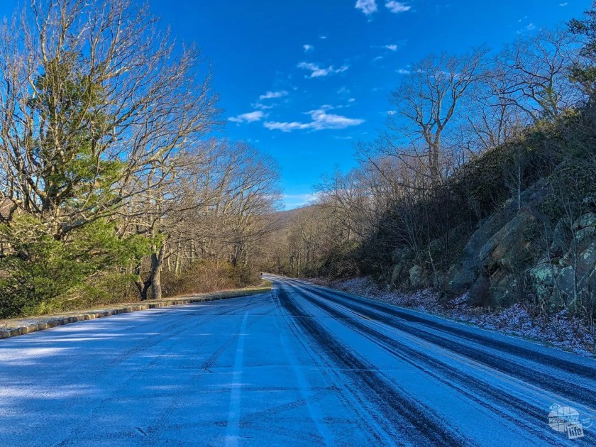 Just a dusting of snow on the Blue Ridge Parkway north of Roanoke.