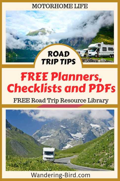 Looking for some AWESOME Free planners, checklists and road trip travel guides? Perfect for motorhomes, RV travel and vanlife. TOTALLY FREE- what are you waiting for?? #roadtrip #roadtriptips #rvlife #vanlife #hacks