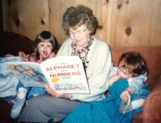 Grandma reads book