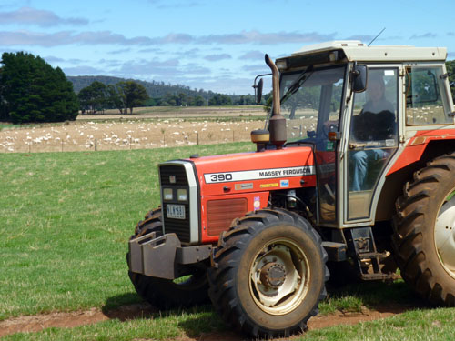 Driving a tractor in Trentham