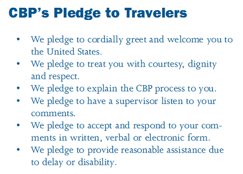 CBP's Pledge to Travelers