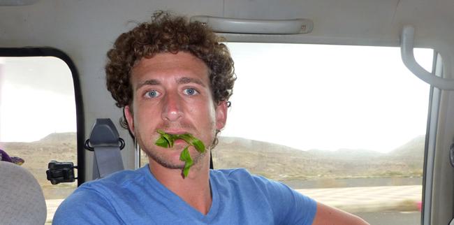 Me Chewing Qat in Yemen