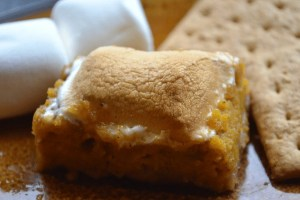 Pumpkin Smore Bar on Plate with Gram Wafer crackers and marshmallows