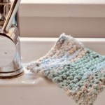 knit dishcloth scrubbie on sink