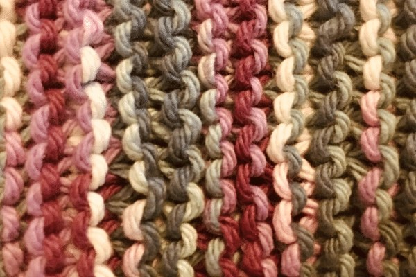 garter stitch close up picture from the Garter Stitch Dishcloth Pattern from Wandering Hoof Ranch