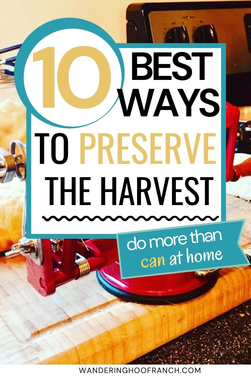10 best ways to preserve the harvest at home, more than just canning pin image with blue stove, apple peeler and canning jars in the background