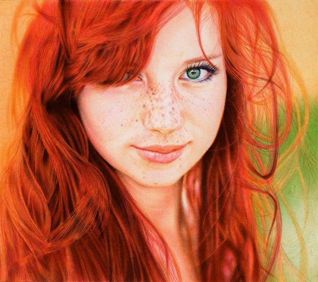 Redhead Girl - Ballpoint Penby ~  by VianaArts