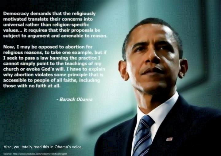 Obama on what democracy demands of religious values