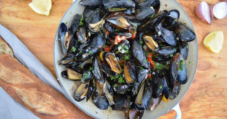 Grilled Mussels à la Marinière