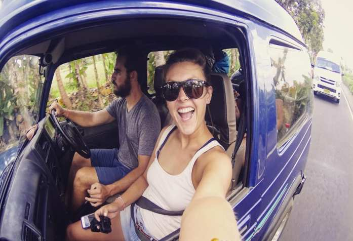 Driving around Bali in a jeep