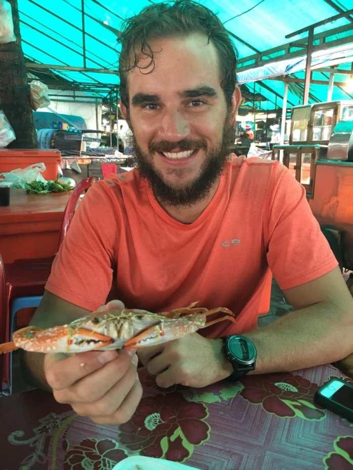 Eating fresh crab at the Crab Market