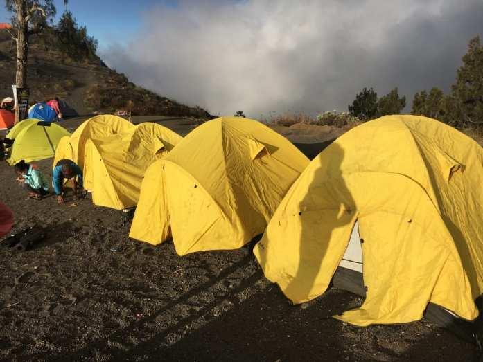 Tent camping on Mount Rinjani
