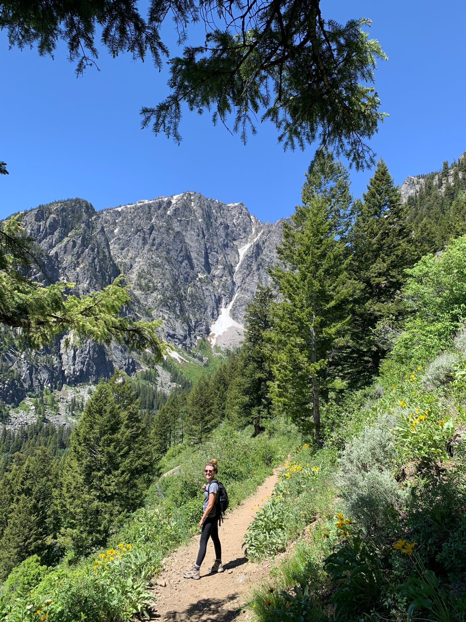 Lauren hiking death canyon trail to patrol cabin