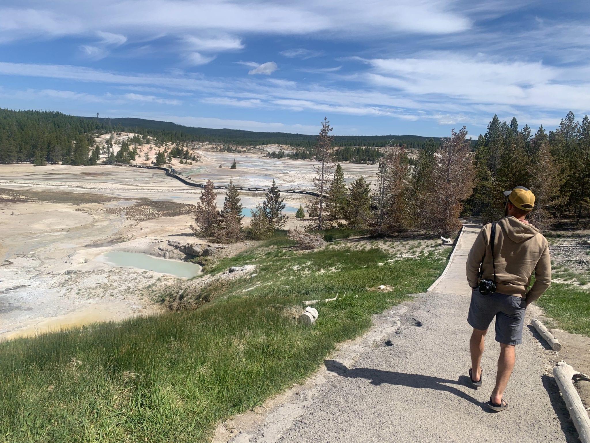 Walking the boardwalks of geyser pools