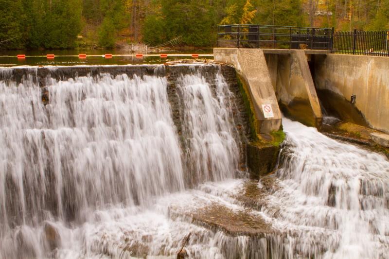 Belfountain waterfall over dam