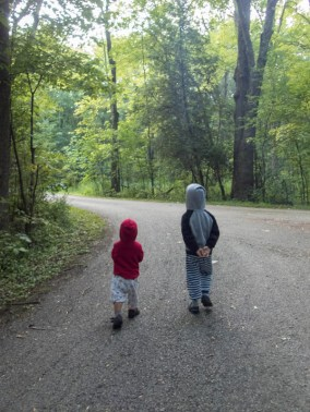 Two young boys walk through the woods of a campground while camping in Mara Provincial Park with kids