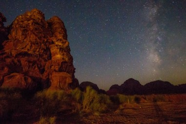 The milky way fills the sky over Wadi Rum