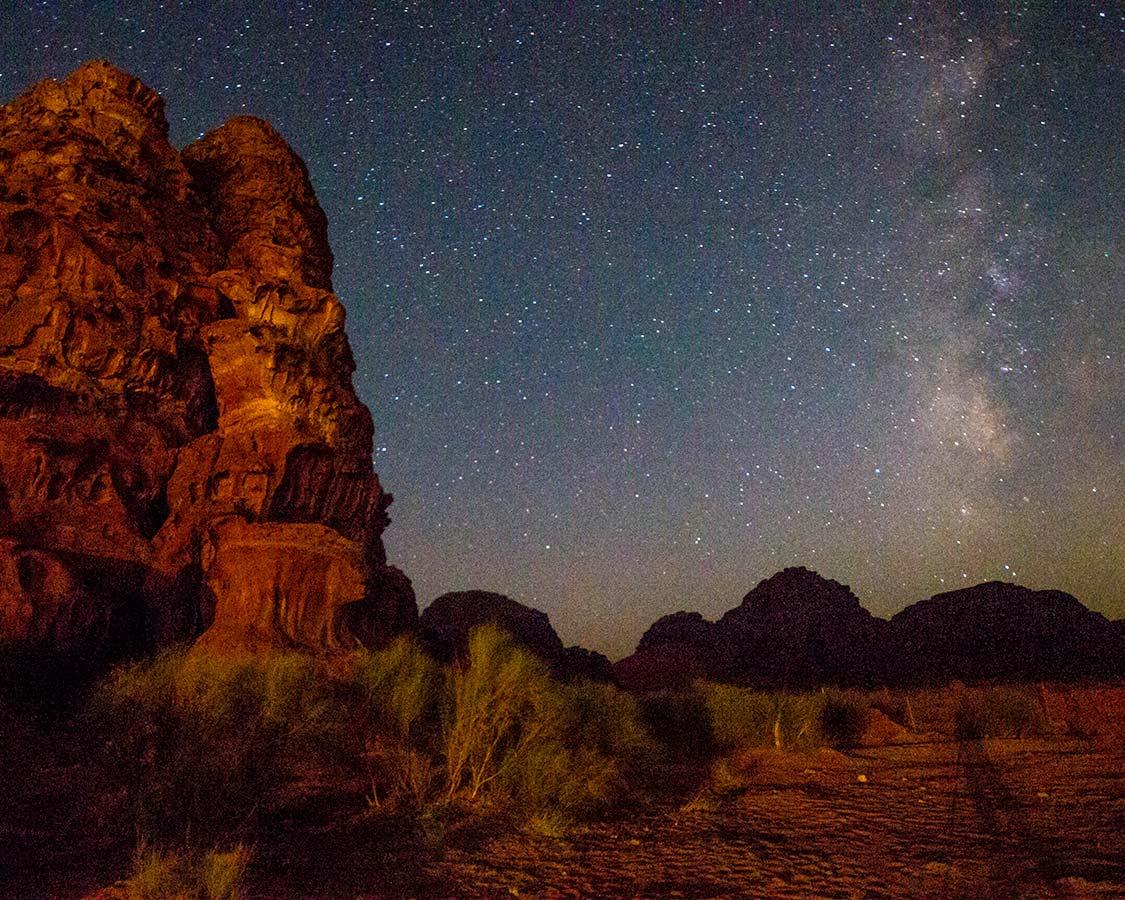 Stars and Milky Way over Wadi Rum Jordan