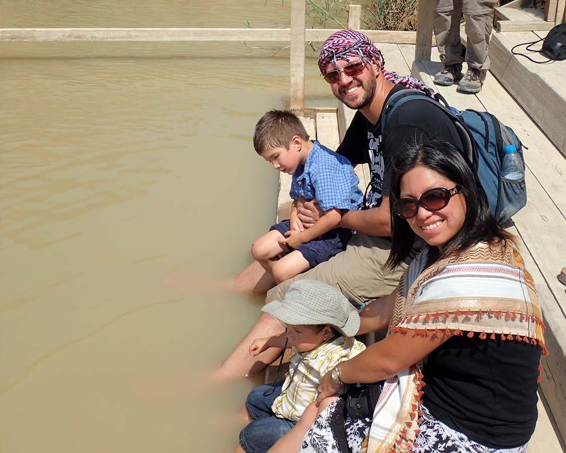 Bathing our feet in the River Jordan at Bethany Beyond the Jordan