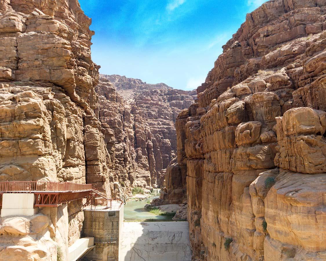 Wadi Mujib Gorge near the Dead Sea in Jordan