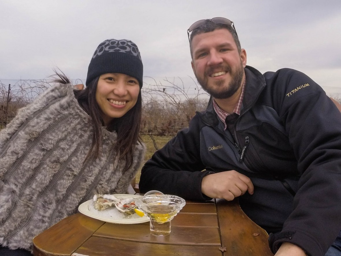 Enjoying fresh seafood outside on a beautiful winter day at Inniskillen Winery during the Niagara Icewine Festival