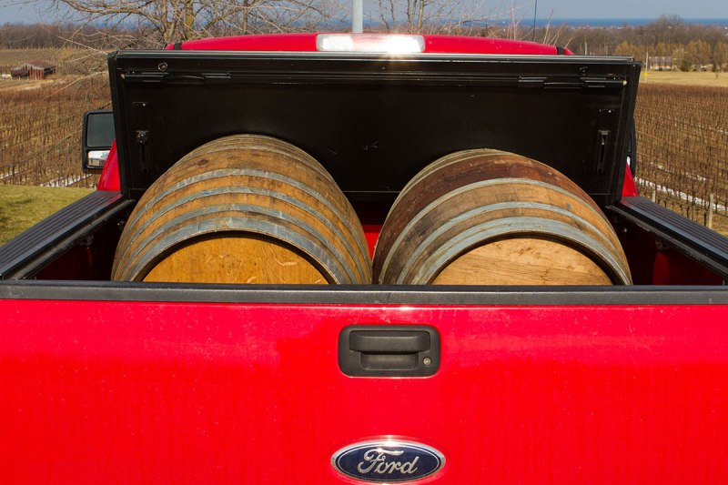 Wine barrels in the back of a pickup truck during the Niagara Icewine Festival