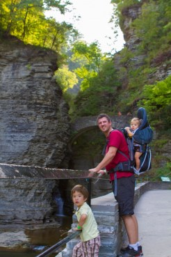 Family admires first view of Watkins Glen State Park.