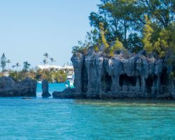Natural stone columns hold of a roof of rock in a Bermudian harbour - Boating in Bermuda
